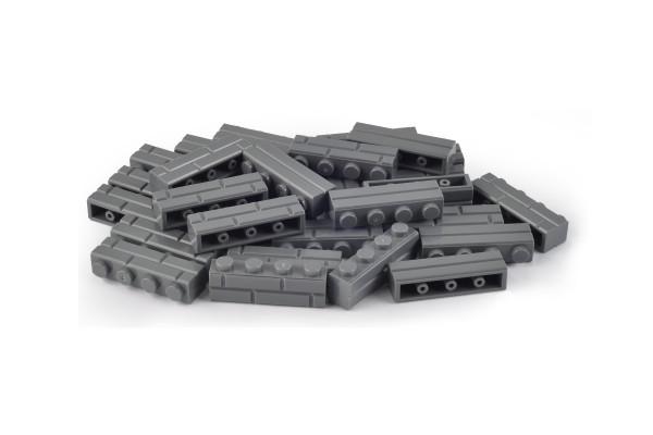 30 Stück Mauersteine 1 x 4 brick modified with Masonry Profile Farbe dark bluish gray