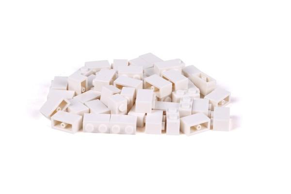 50 Stück Klemmbausteine 1 x 2 brick Farbe weiß