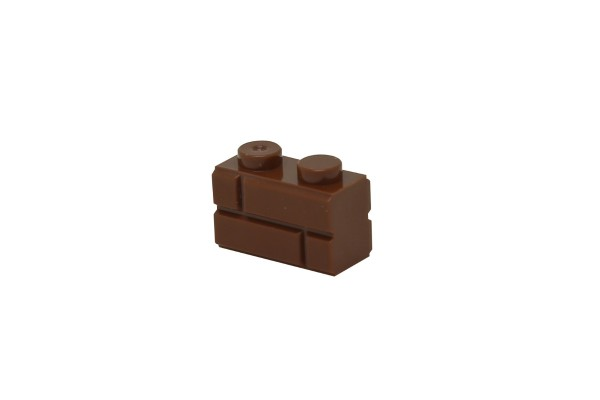 50 Stück Mauersteine 1 x 2 brick modified with Masonry Profile Farbe braun