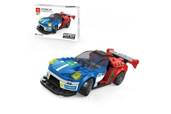 Mini Sportwagen aus Klemmbausteinen in rot/blau
