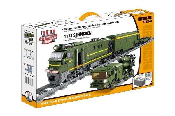 Grüner Militärzug inkl. Schienenkreis (elektrischer Antrieb)