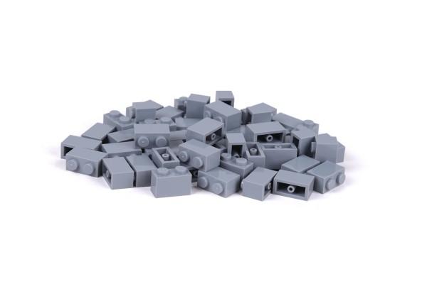 50 Stück Klemmbausteine 1 x 2 brick Farbe light bluish gray