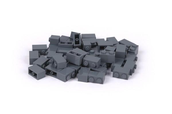 50 Stück Klemmbausteine 1 x 2 brick Farbe dark bluish gray