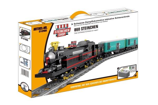 Schwarze Dampflokomotive inkl. Schienenkreis (elektrischer Antrieb)