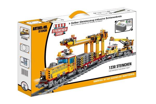 Gelber Gleisbauzug inkl. Schienenkreis (elektrischer Antrieb)