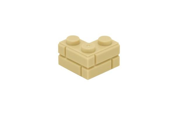 20 Stück Mauersteine 2 x 2 corner brick modified with Masonry Profile Farbe sand (tan)