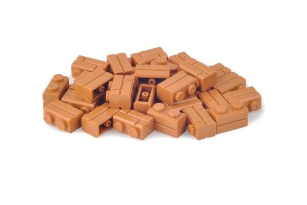 30 Stück Mauersteine 1 x 2 brick modified with Masonry Profile Farbe medium nougat
