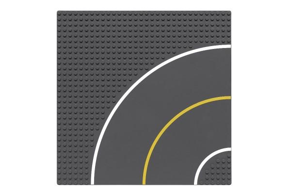 Sraßenplatte 32 x 32 Noppen Kurve (dunkelgrau)
