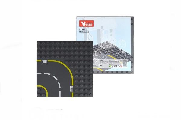 Straßenplatte Kurve links für XL Klemmbausteine