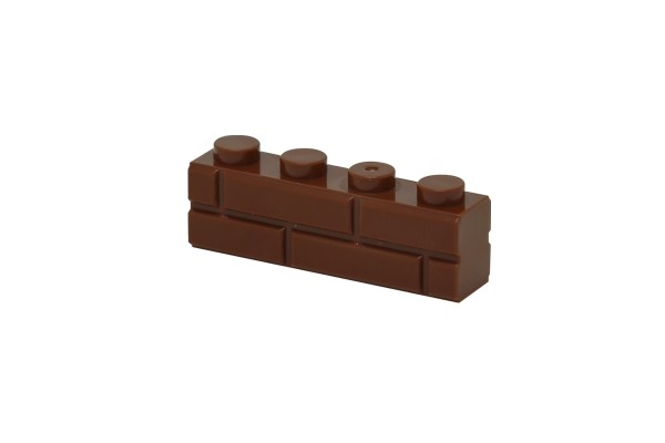 30 Stück Mauersteine 1 x 4 brick modified with Masonry Profile Farbe braun