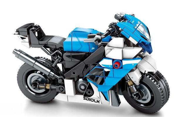 Motorrad auf Ständer in blau-schwarz