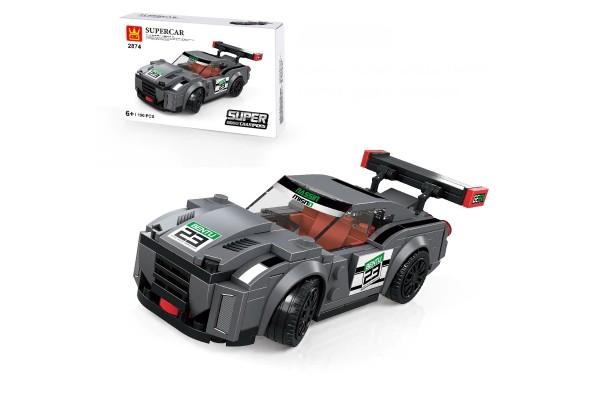 Mini Sportwagen aus Klemmbausteinen in grau