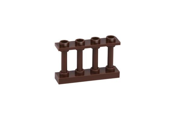 20 Stück Zaunelemente Fence 1 x 4 x 2 Spindled with 4 Studs reddish brown