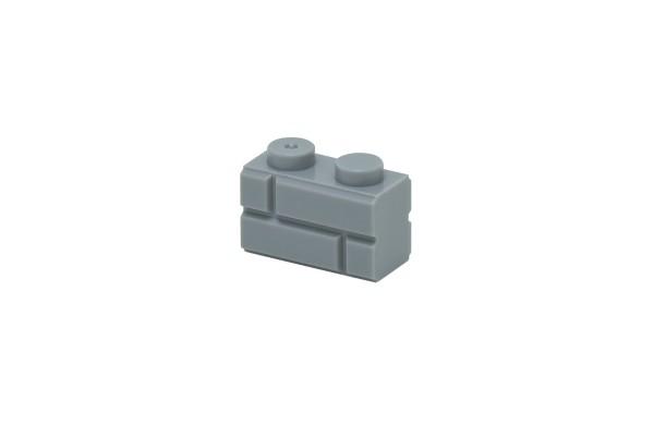 50 Stück Mauersteine 1 x 2 brick modified with Masonry Profile Farbe hellgrau (light bluish gray)