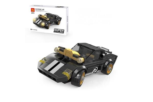 Mini Sportwagen aus Klemmbausteinen in schwarz