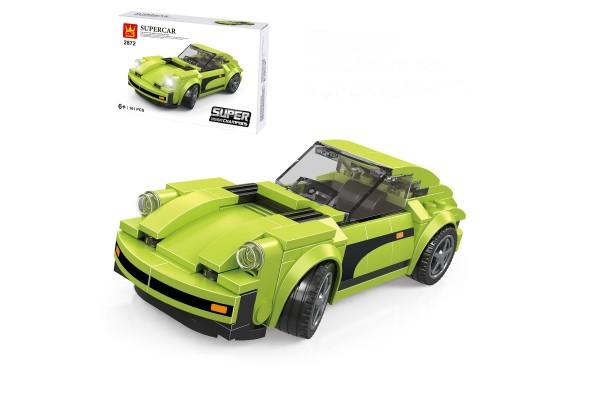 Mini Sportwagen aus Klemmbausteinen in grün
