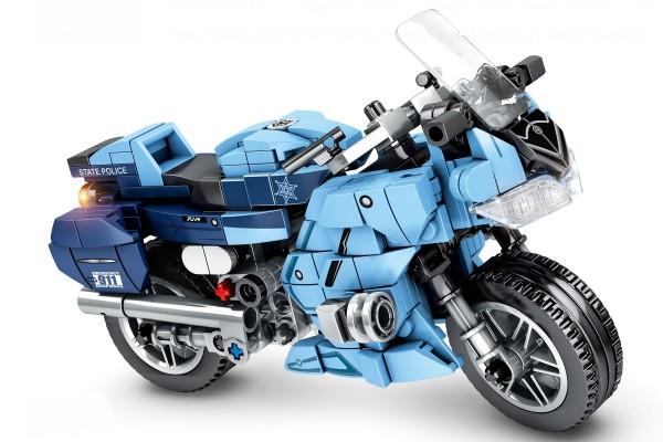 Motorrad auf Ständer in blau