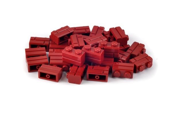 30 Stück Mauersteine 1 x 2 brick modified with Masonry Profile Farbe dark red