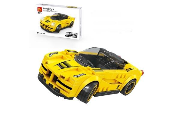 Mini Sportwagen aus Klemmbausteinen in gelb
