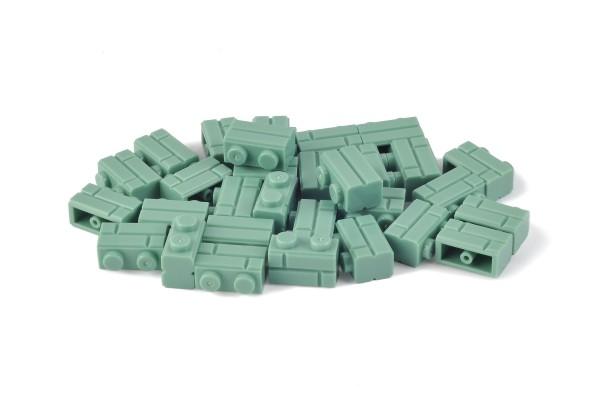 30 Stück Mauersteine 1 x 2 brick modified with Masonry Profile Farbe sand green