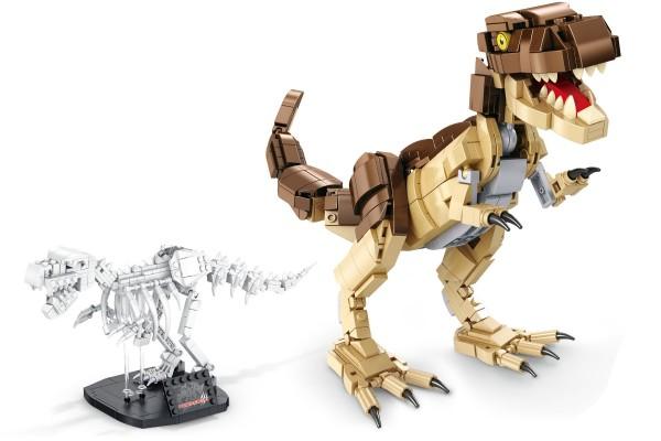 Dinosaurier Set T-Rex inkl. Skelett auf Ständer