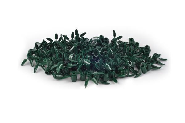 100 Stück Plant Brick Round 1 x 1 with 3 Bamboo Leaves dark green