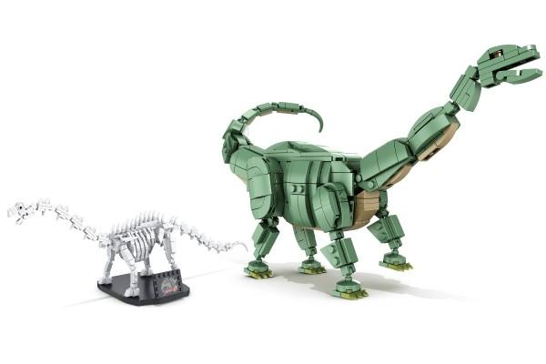 Dinosaurier Set Brontosaurier inkl. Skelett auf Ständer