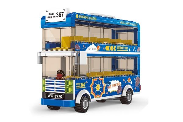 Blauer Doppeldecker Bus