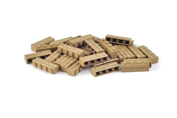 30 Stück Mauersteine 1 x 4 brick modified with Masonry Profile Farbe dark tan