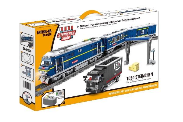 Blauer Diesel Personenzug inkl. Schienenkreis (elektrischer Antrieb)
