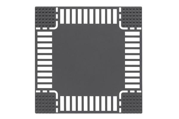 Sraßenplatte 32 x 32 Noppen Kreuzung (dunkelgrau)