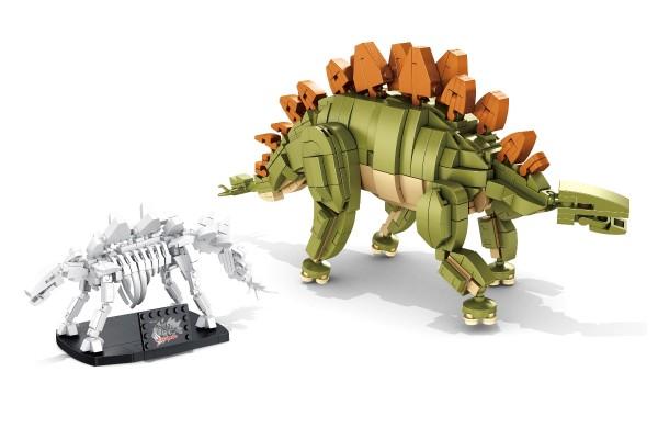 Dinosaurier Set Stegosaurus inkl. Skelett auf Ständer