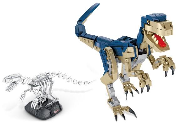 Dinosaurier Set Velociraptor inkl. Skelett auf Ständer