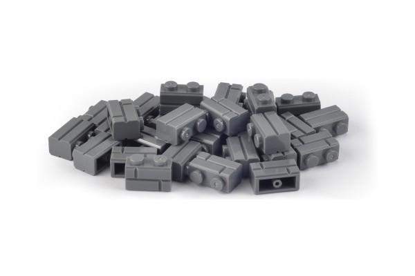 30 Stück Mauersteine 1 x 2 brick modified with Masonry Profile Farbe dark bluish gray