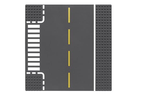 Sraßenplatte 32 x 32 Noppen T-Kreuzung (dunkelgrau)