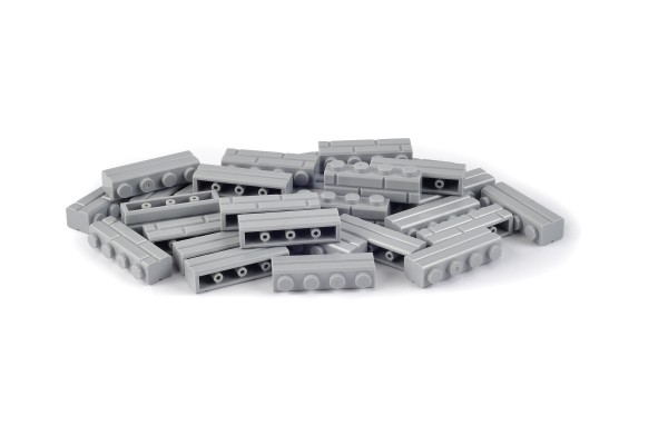 30 Stück Mauersteine 1 x 4 brick modified with Masonry Profile Farbe light bluish gray