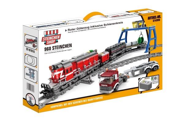 Roter Diesel Güterzug inkl. Schienenkreis (elektrischer Antrieb)