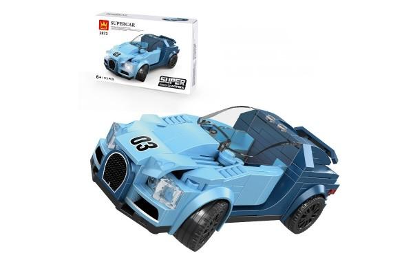 Mini Sportwagen aus Klemmbausteinen in blau
