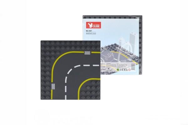 Straßenplatte Kurve rechts für XL Klemmbausteine