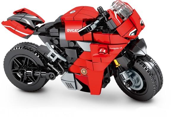 Motorrad auf Ständer in rot