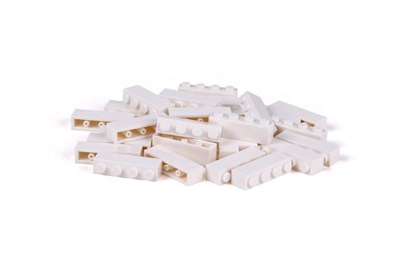 30 Stück Klemmbausteine 1 x 4 brick Farbe weiß