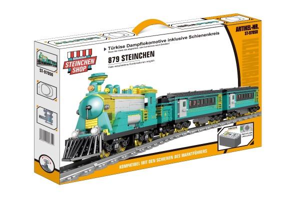 Türkise Dampflokomotive inkl. Schienenkreis (elektrischer Antrieb)