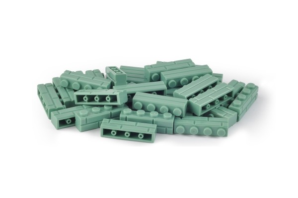 30 Stück Mauersteine 1 x 4 brick modified with Masonry Profile Farbe sand green